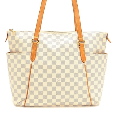 Louis Vuitton Totally MM Bag in Damier Azur Canvas and Vachetta Leather