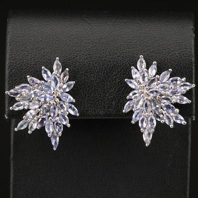 Sterling Silver Tanzanite Cluster Earrings