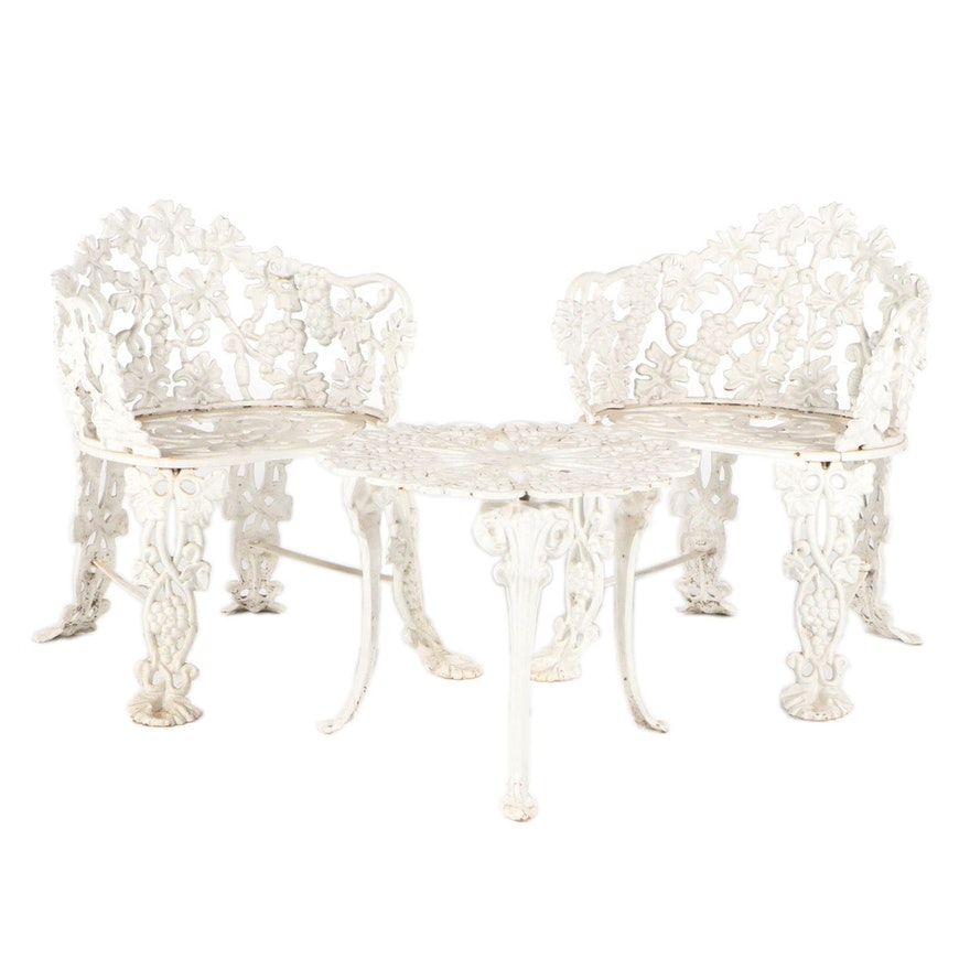 Pair of White-Painted Cast Iron Garden Chairs Plus Side Table, 20th Century