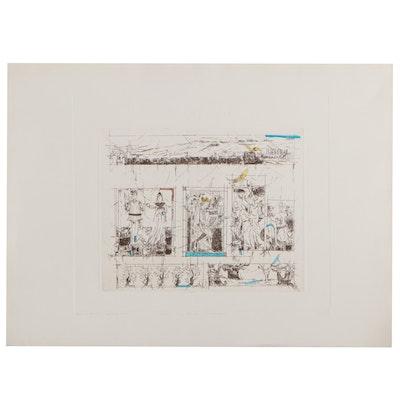 """Karen Hirsch-Harari Etching """"Chai: King David's Celebration,"""" 1984"""