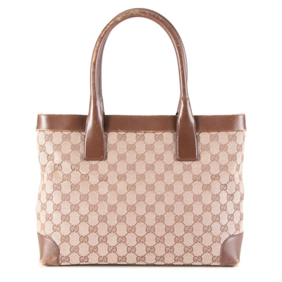 Gucci Medium Tote Bag in GG Canvas and Brown Leather Trim