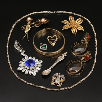 Jewelry Selection Including Rhinestone Brooch and Sterling