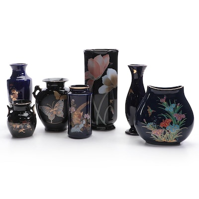 Japanese Black and Cobalt Gilt Accented Vases, Mid to Late 20th C.