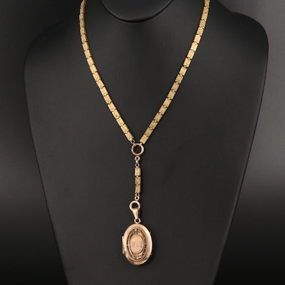 Antique Imitation Pearl Locket on Book Link Chain