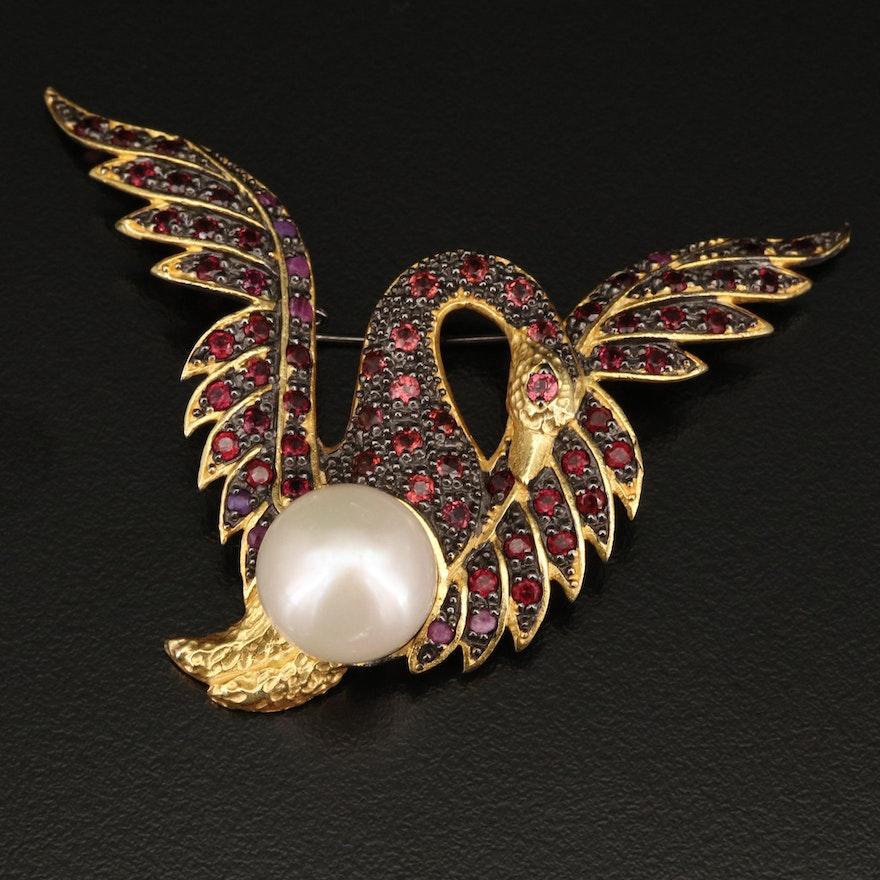 Sterling Silver Pearl, Rhodolite Garnet and Corundum Converter Pendant