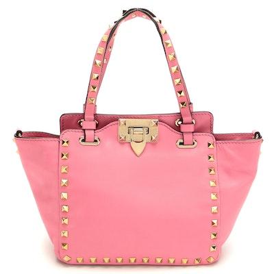 Valentino Mini Rockstud Tote in Pink Leather