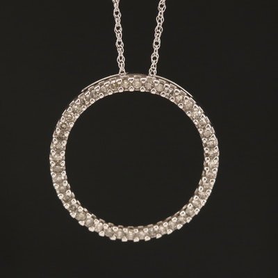 10K Diamond Circle Pendant Necklace