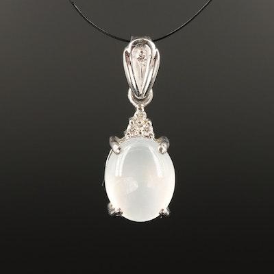 14K Diamond and Quartz Pendant
