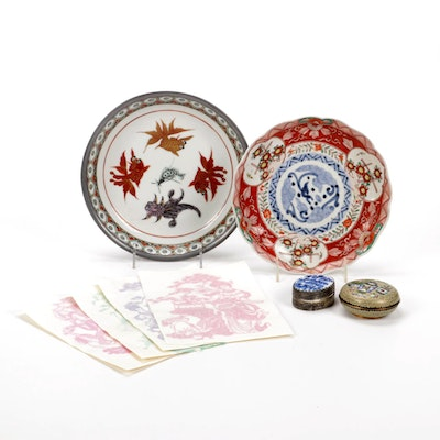 Chinese Four Beauties Decals, Cloisonne Trinket Box, Hand-Painted Plates
