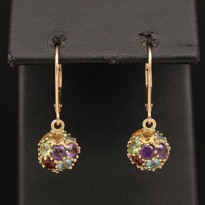 10K Gemstone Cluster Earrings Including Peridot, Amethyst and Citrine