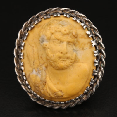 Sterling Calcite Cameo Ring