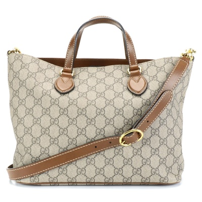 Gucci GG Supreme Canvas and Leather Two-Way Tote