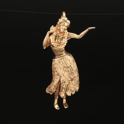 Vintage 14K Articulated Hula Dancer Charm
