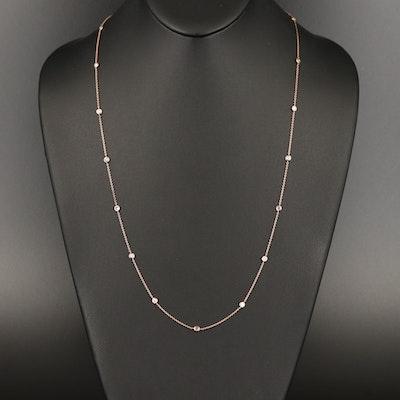 14K Rose Gold 1.00 CTW Diamond Station Necklace