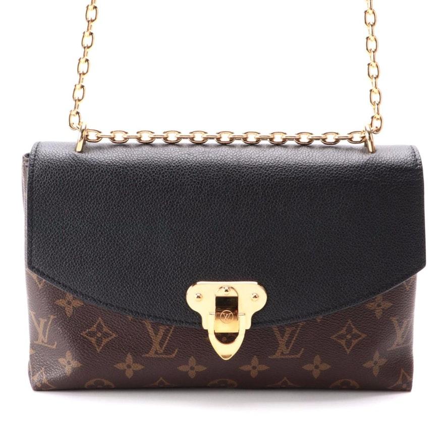 Louis Vuitton Saint Placide Flap Bag in Monogram Canvas and Black Leather