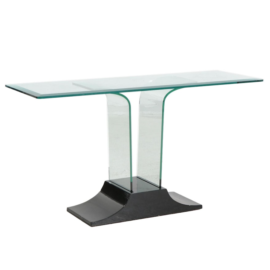 Contemporary Glass and Black Lacquered Wood Console Table
