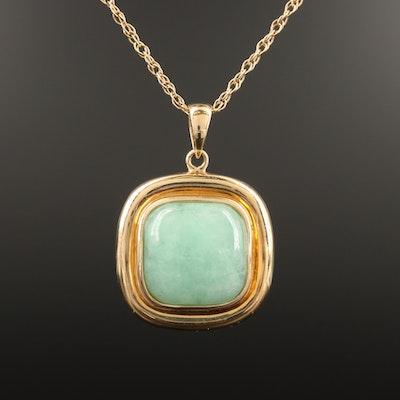 14K Jade Square Pendant Necklace