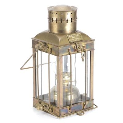 English  Nautical Cargo Light No. 3954 Brass Kerosene Lantern, Early-Mid 20th C.