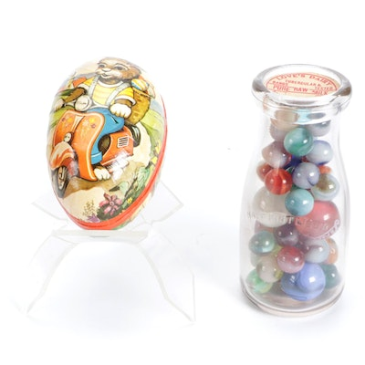 Agate and Other Glass Marbles with German Papier-Mâché Candy Container