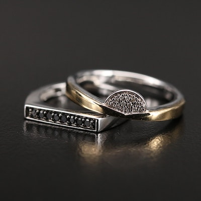 Sterling Diamond Rings Including 10K Accent