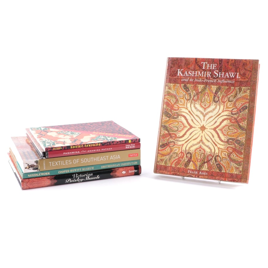 """Signed """"The Kashmir Shawl"""" by Frank Ames and More Textile Arts Reference Books"""