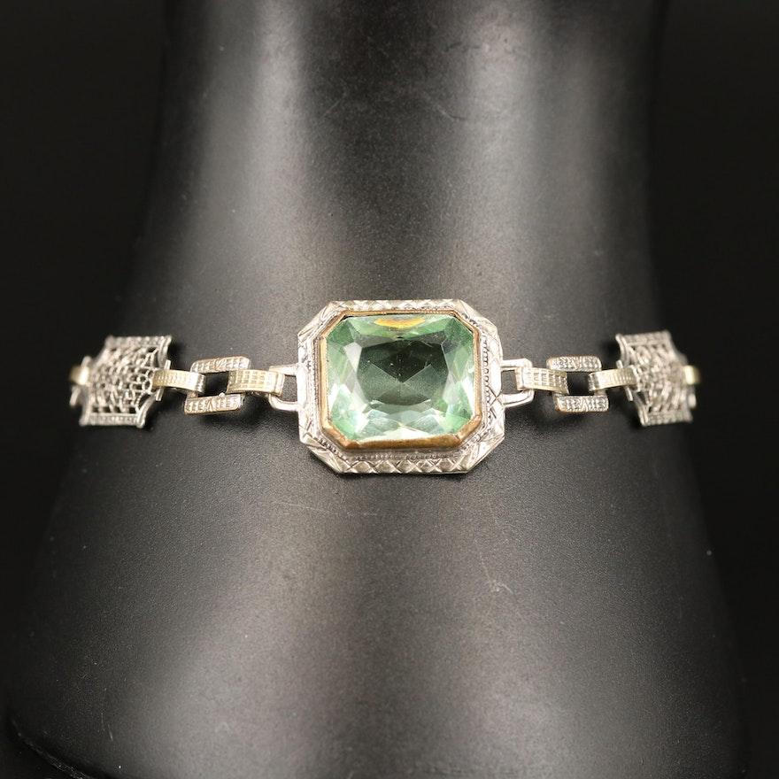 1930s Sterling Uranium Glass Link Bracelet with Filigree Detail