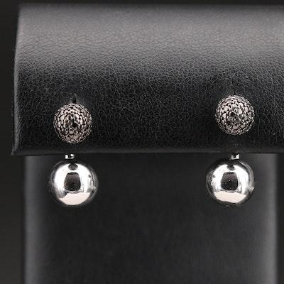 Sterling Diamond Stud Earrings with Enhancers