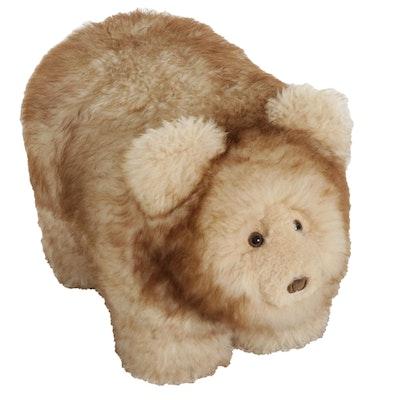 Bear Shaped Plush Lambswool Footstool