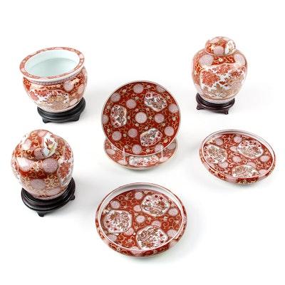 Gold Imari Hand-Painted Porcelain Ginger Jars, Plates, Bowls, and Jardinière