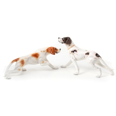 Italian Ceramic Hunting Dog Figurines, Mid to Late 20th Century