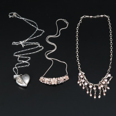 Sterling Necklaces Including Pearl Fringe, Puffy Heart and Floral Station