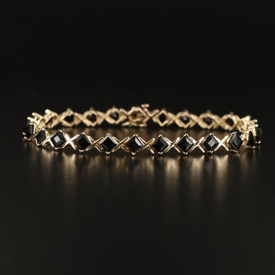 10K Black Onyx Line Bracelet