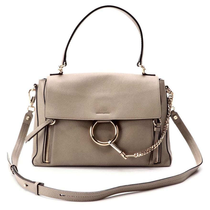 Chloé Faye Motty Gray Leather Two-Way Bag