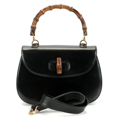 Gucci Accessories Collection Bamboo Two-Way Shoulder Bag in Black Leather
