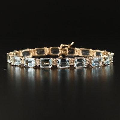 14K 24.44 CTW Aquamarine and Diamond Line Bracelet