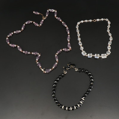 Vintage Rhinestone and Glass Beaded Necklaces