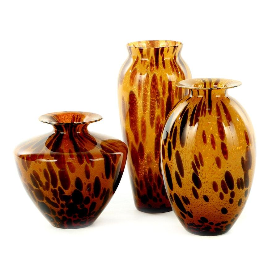 Italian Tortoiseshell Art Glass Vases
