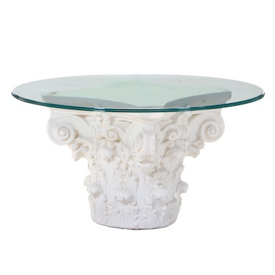 Neoclassical Style Round Glass Top Coffee Table