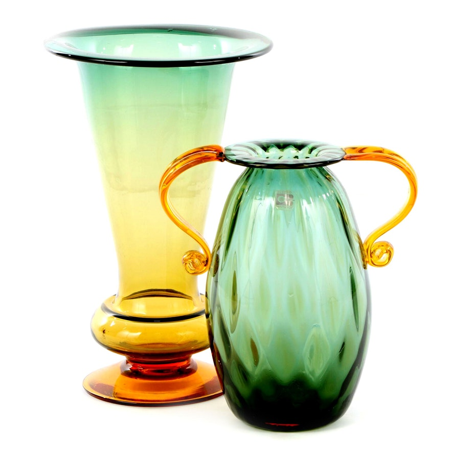 Blenko Handblown Green and Amber Art Glass Vase and Handled Vase