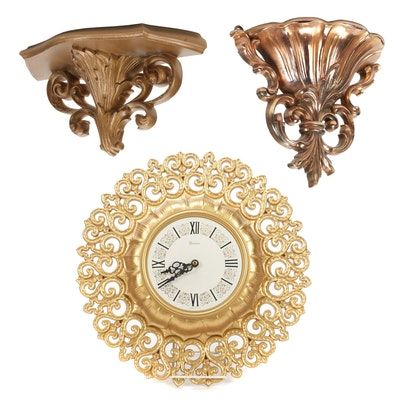 Syroco Rococo Style Gilt Wall Clock and Wall Sconces, Mid-20th Century