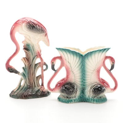 Maddux of California Double Flamingo Vase with Flamingo Figurine, Mid-20th C.