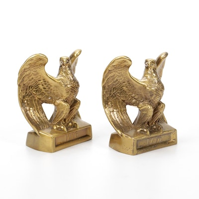 Gilt Cast Iron 1776 Eagle Bookends, Mid to Late 20th Century