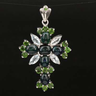 Sterling Opal, Aquamarine and Diopside Cross Pendant