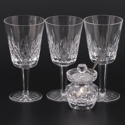 """Waterford """"Lismore"""" Crystal Water Goblets with Honey Jar and Demitasse Spoon"""