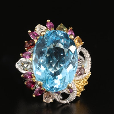 Sterling Silver Topaz, Citrine and Garnet Ring