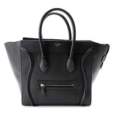 Céline Mini Luggage Tote in Black Drummed Leather