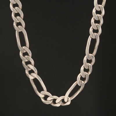 Italian Sterling Figaro Chain Necklace