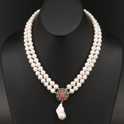 Sterling Silver Pearl, Ruby and Emerald Necklace