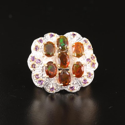 Sterling Silver Opal and Amethyst Ring with Scalloped Edge