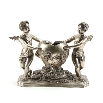 Art Nouveau Style Cast Spelter Putti and Heart Jardinière, Early to Mid 20th C.